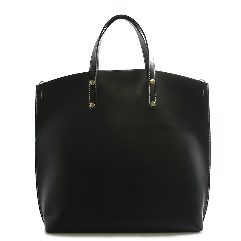 Černá kožená kabelka do ruky ItalY Sydney bíle prošitá