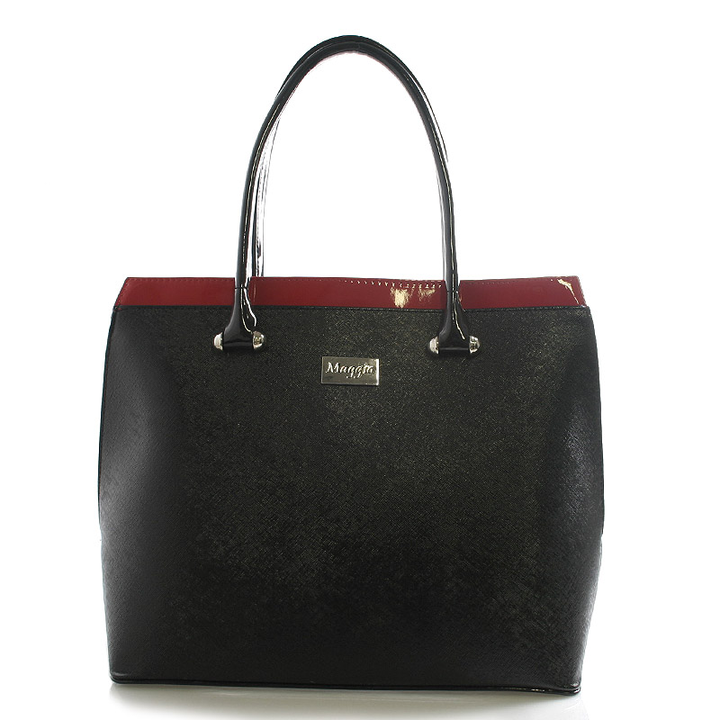 Dámská kabelka černo-červená lakovaná - Maggio Tatiana