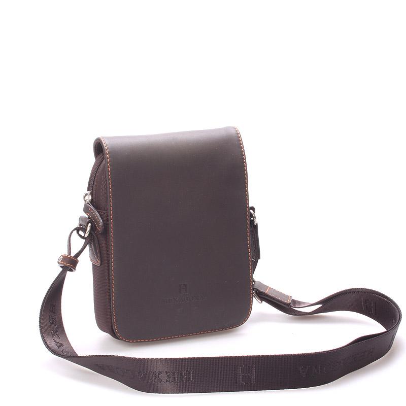 Luxusní pánská kožená kabelka přes rameno hnědá - Hexagona Filippo