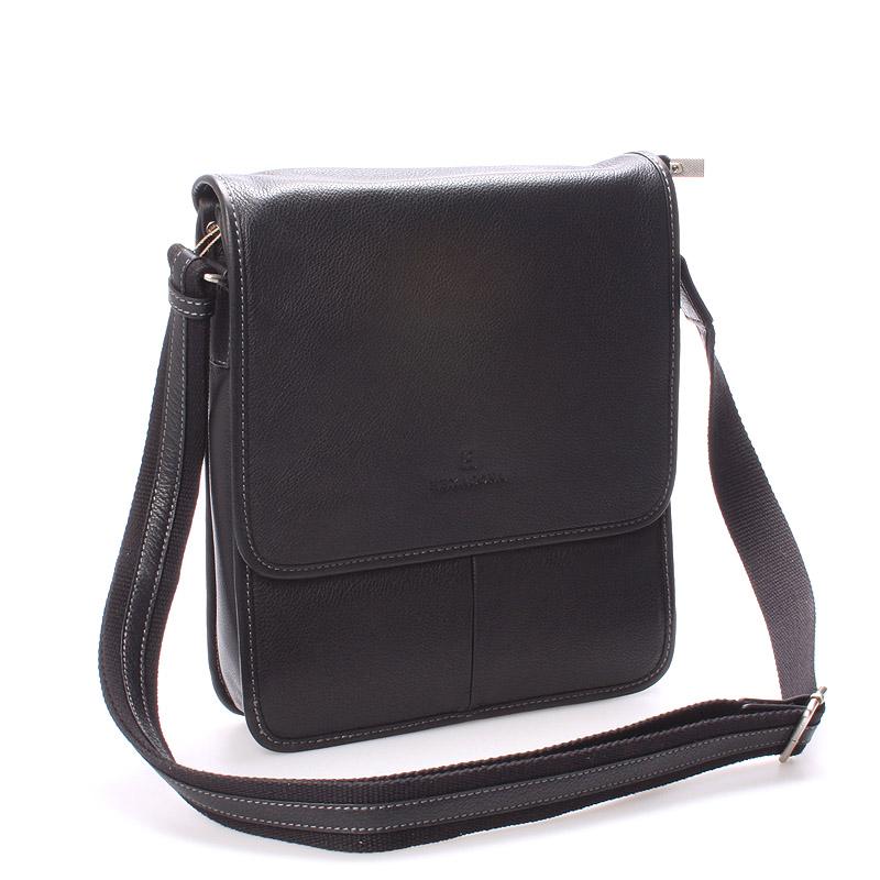 Luxusní pánská kožená taška přes rameno černá - Hexagona Marco