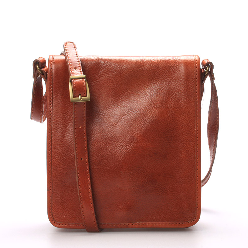 Luxusní pánská kožená taška přes rameno koňaková - ItalY Alonzo