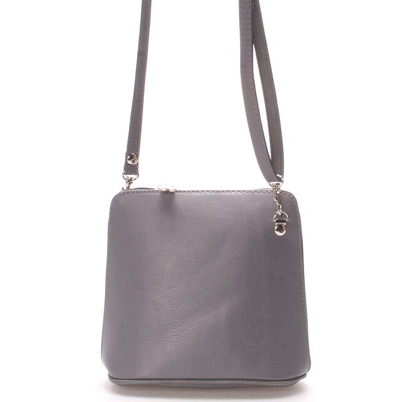 Dámská kožená crossbody kabelka šedá - ItalY 10053