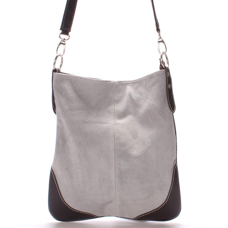 Dámská kožená crossbody kabelka světle šedá - ItalY 10062