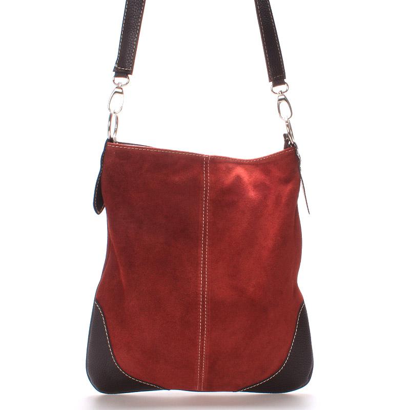 Dámská kožená crossbody kabelka tmavě červená - ItalY 10062