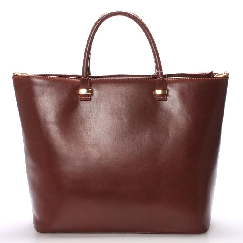 Luxusní dámská kožená kabelka čokoládová - ItalY Anabela