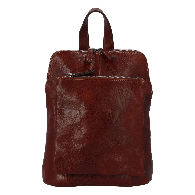 Dámský kožený batůžek kabelka hnědý - ItalY Englis