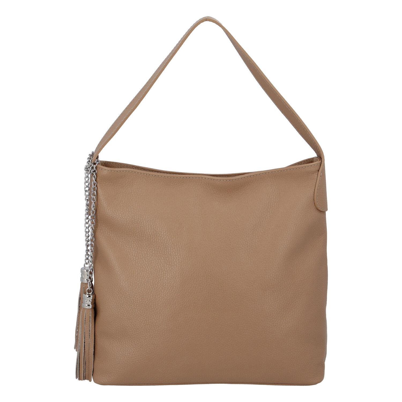 Módní kožená kabelka přes rameno camel - ItalY Georgine
