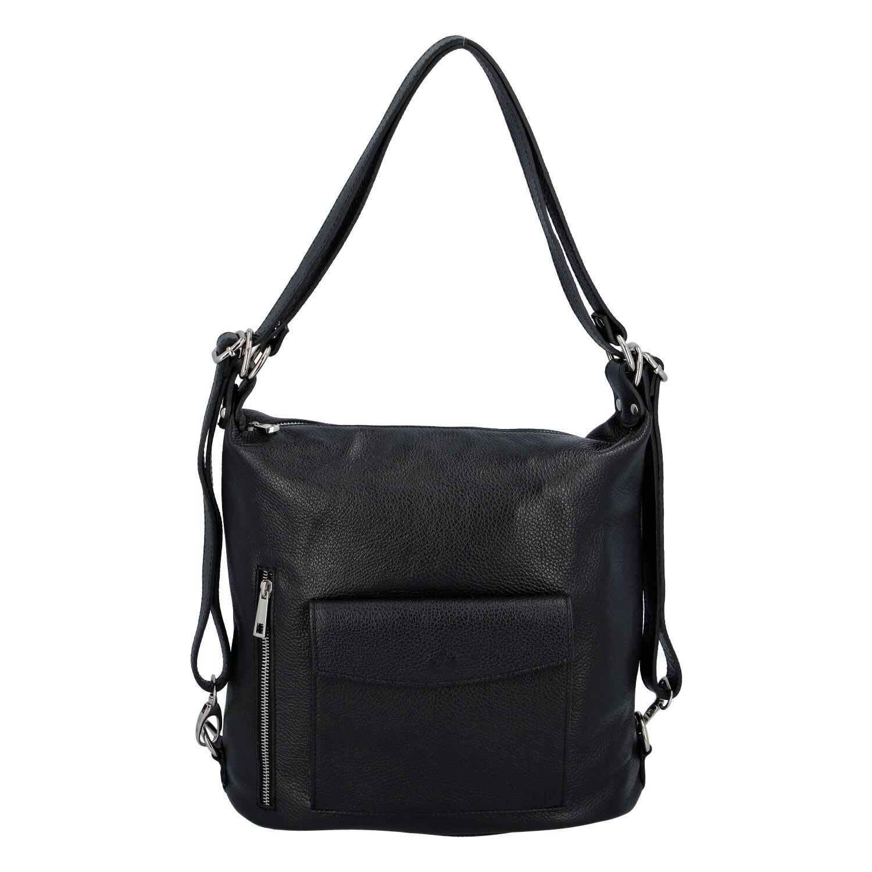 Dámská kožená kabelka batoh černá - ItalY Singa