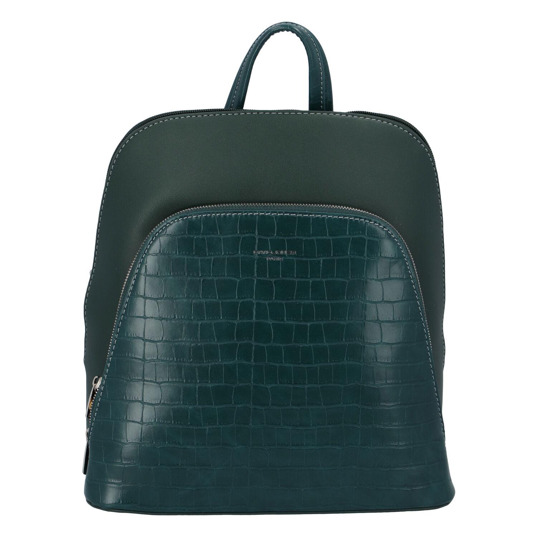 Dámský městský batoh tmavě zelený - David Jones Yordan Kroko