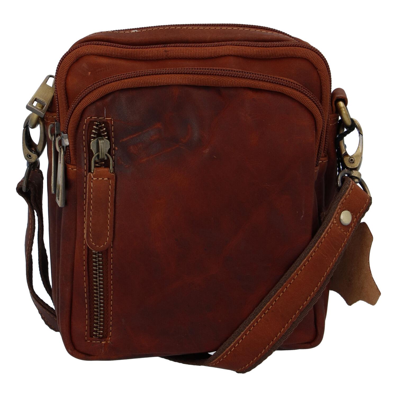 Přírodní koňaková pánská kožená taška na doklady - Tomas Svemir