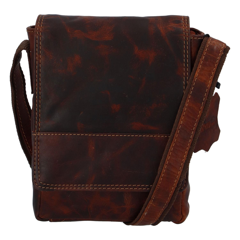 Kožená pánská crossbody taška na doklady koňaková 0213