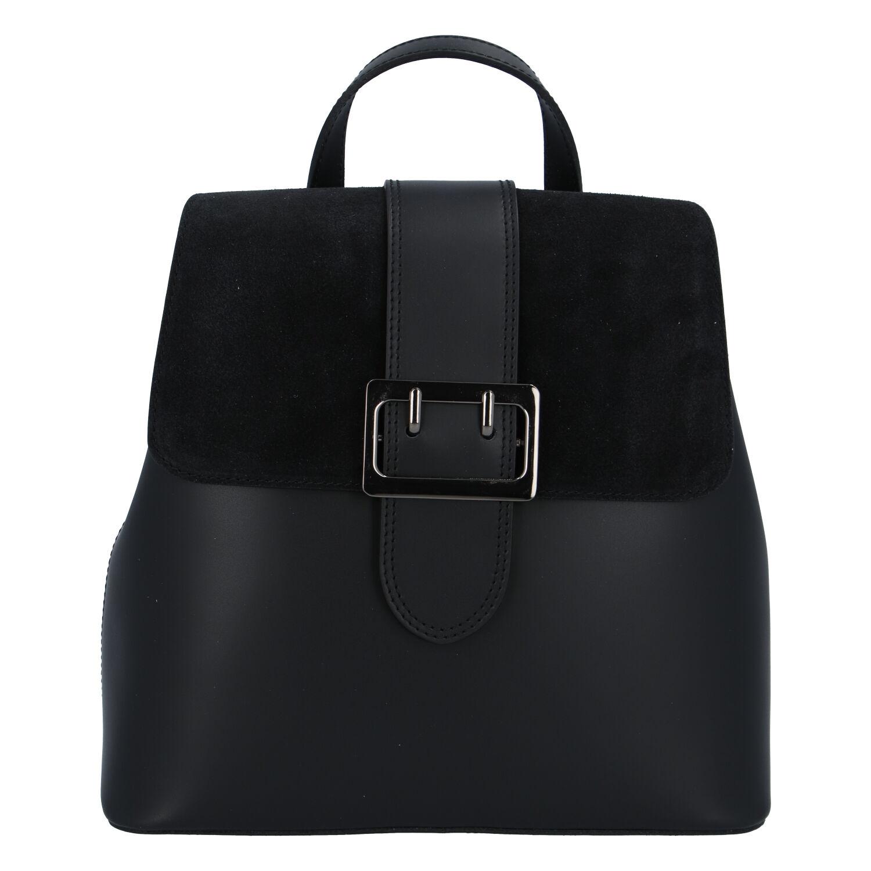 Dámský kožený černý batoh - ItalY Parid