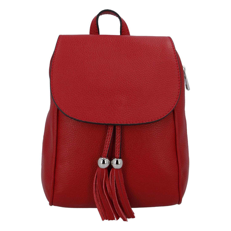 Dámský kožený batůžek tmavě červený - ItalY Joseph