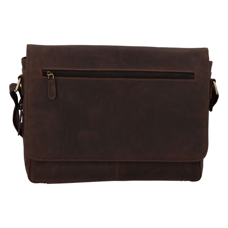 Pánská kožená taška hnědá - Tomas Woodoo Two