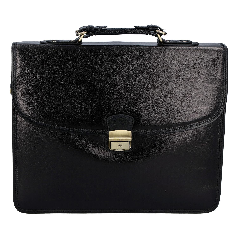 Luxusní pánská kožená aktovka černá - Hexagona Ruperto
