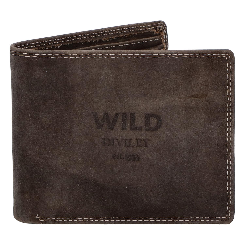 Pánská kožená peněženka tmavě hnědá - WILD Stockholm