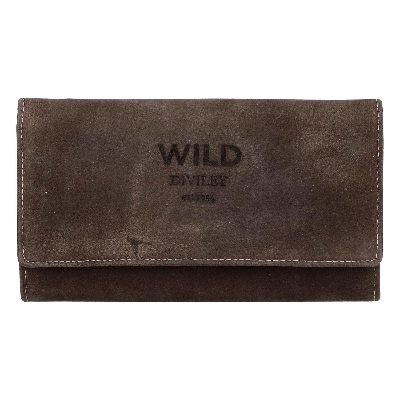 Dámská kožená peněženka tmavě hnědá - WILD Riga