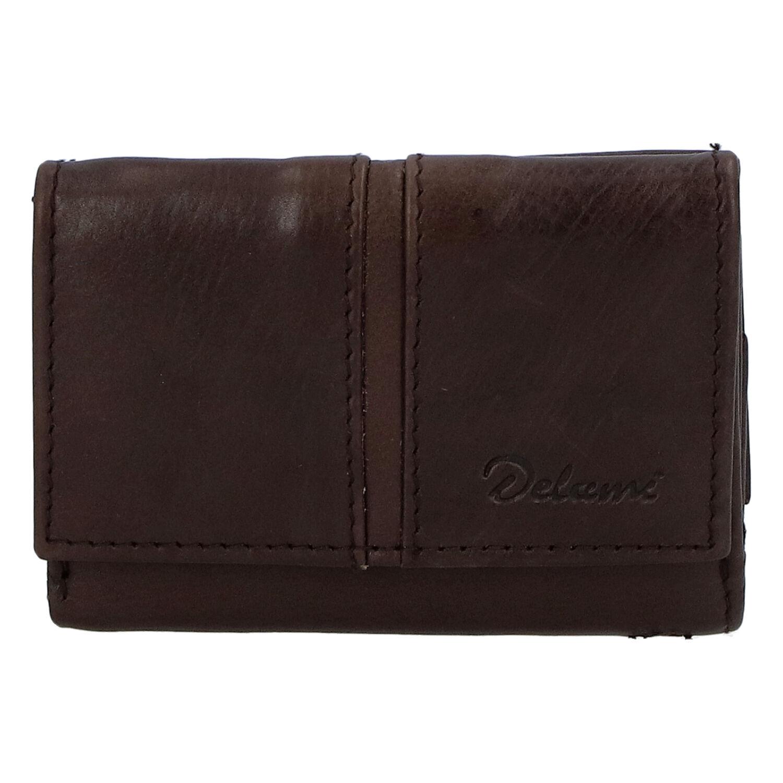 Kožená tmavě hnědá peněženka - Delami 9386