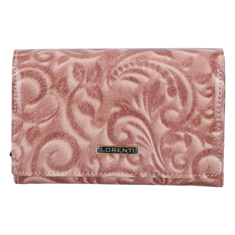 Dámská kožená lakovaná peněženka růžová - Lorenti 112X