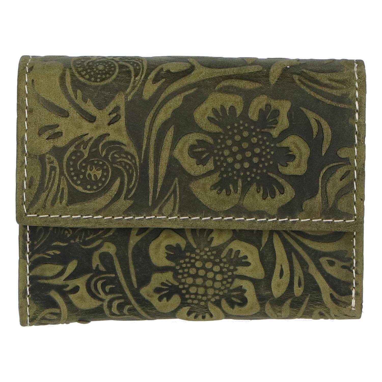 Dámská kožená peněženka zelená se vzorem - Tomas Gulia