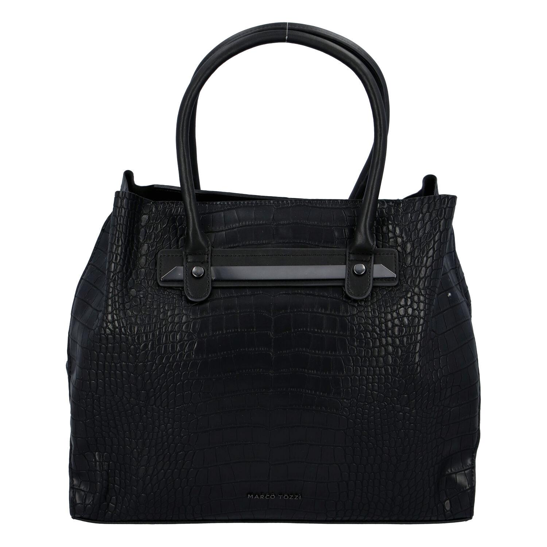 Dámská módní kroko kabelka černá - Marco Tozzi Skuba