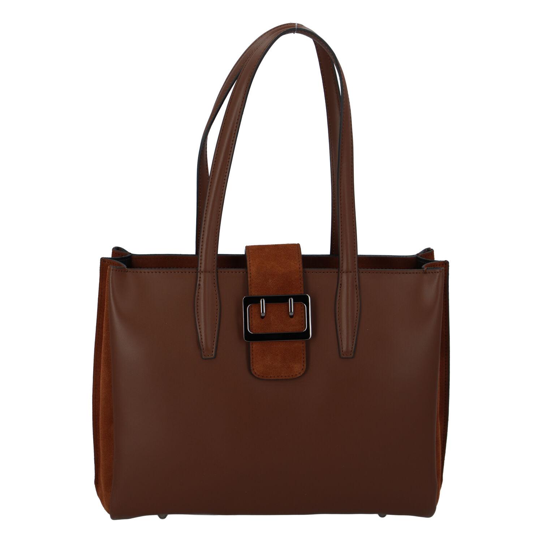 Dámská kožená kabelka přes rameno hnědá - ItalY Driada
