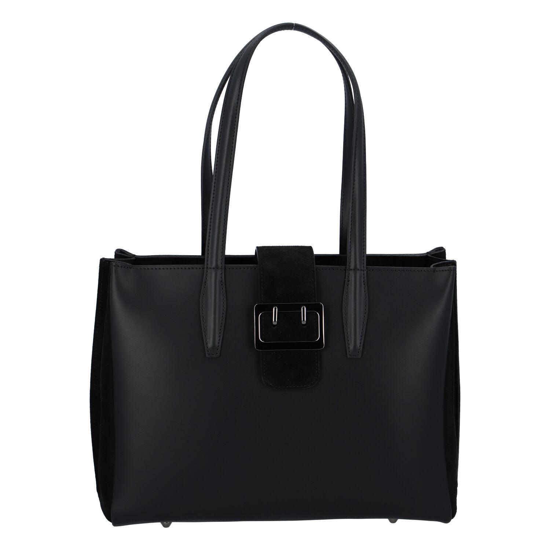Dámská kožená kabelka přes rameno černá - ItalY Driada