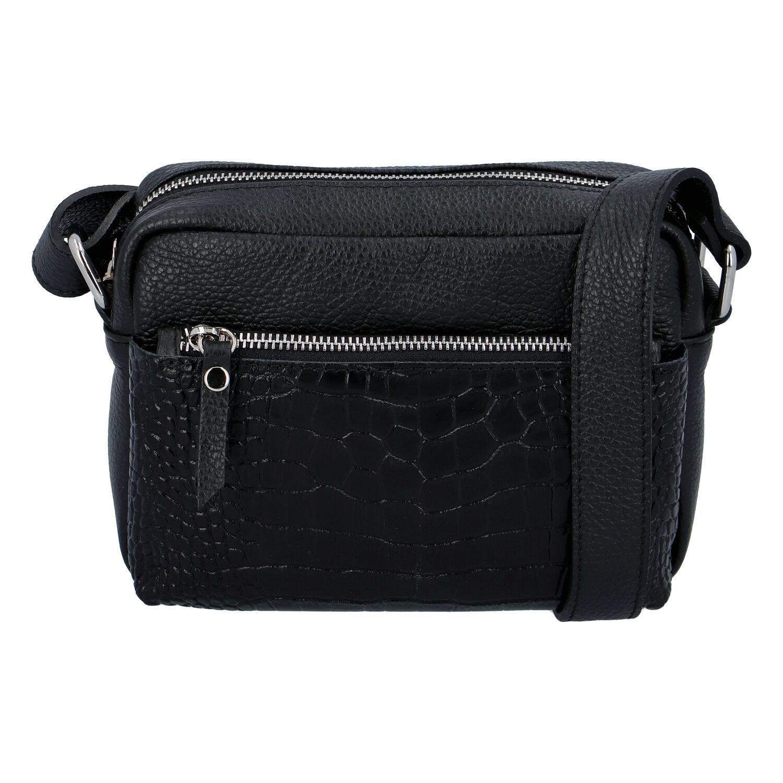 Dámská kožená crossbody kabelka černá - ItalY Kruba