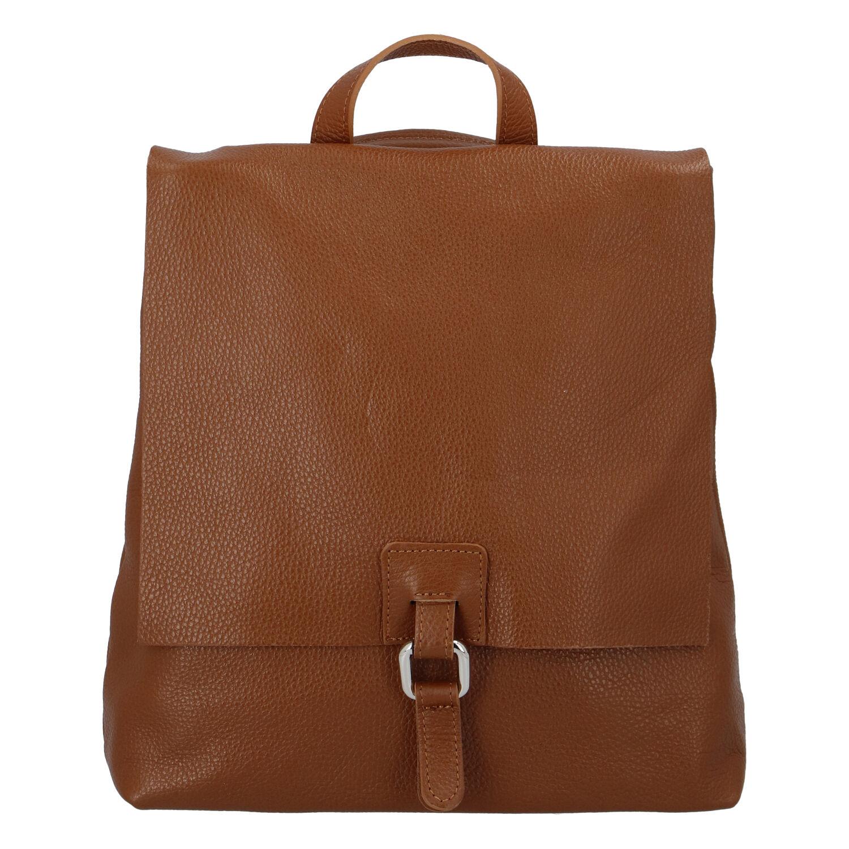 Dámský kožený batůžek kabelka hnědý - ItalY Francesco