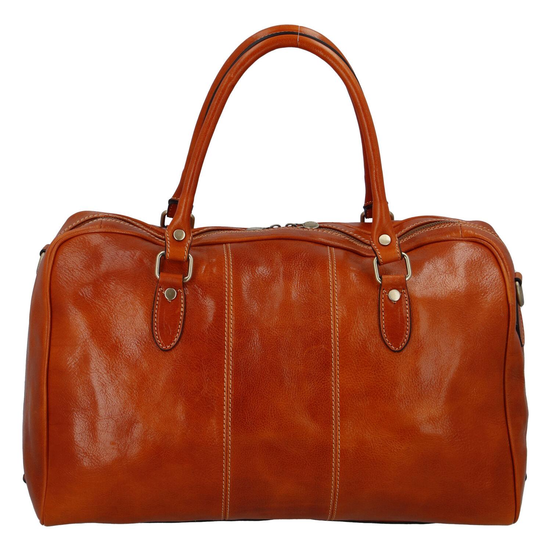 Cestovní kožená taška koňak - ItalY Homer