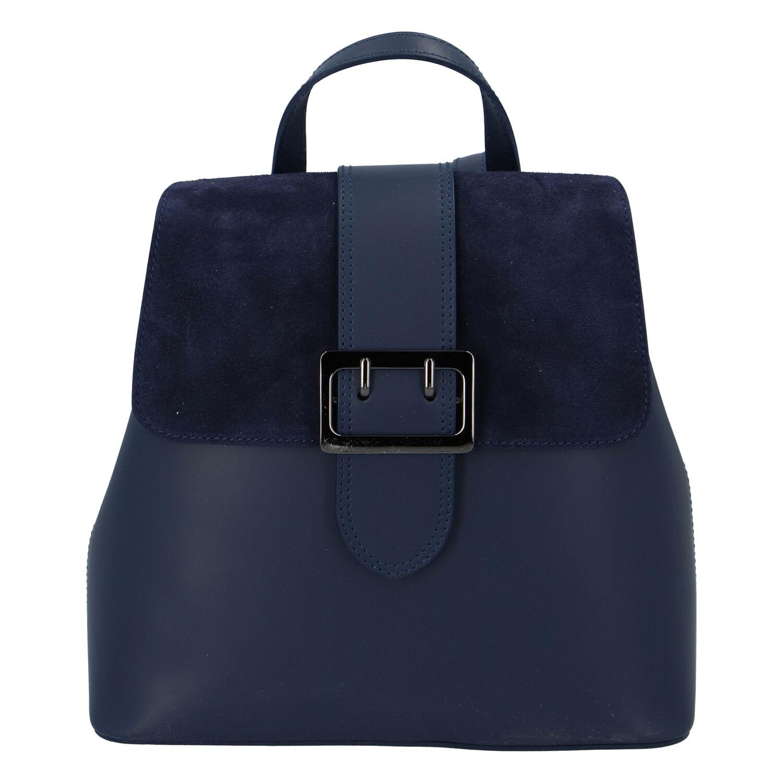 Dámský kožený tmavě modrý batoh - ItalY Parid