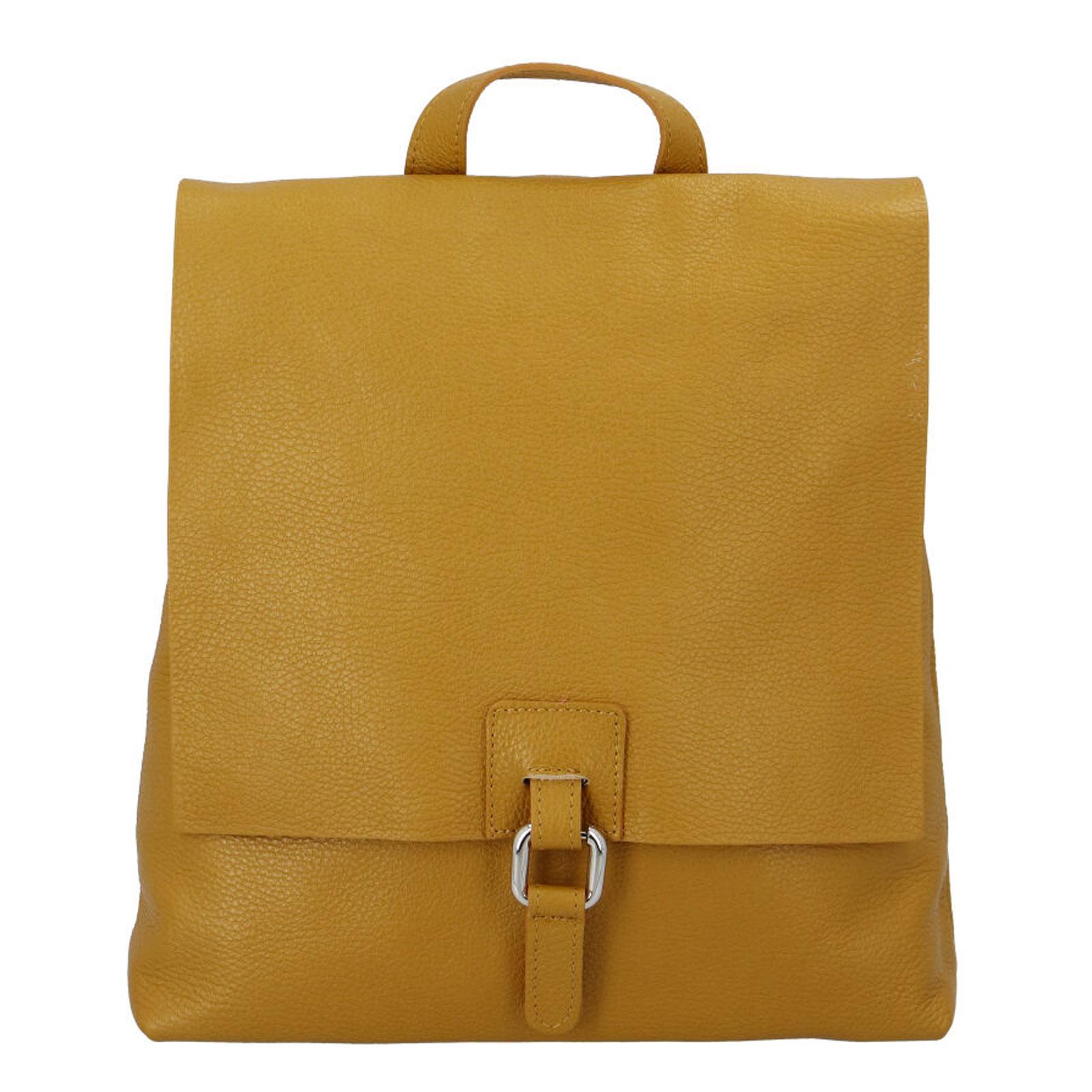 Dámský kožený batůžek kabelka žlutý - ItalY Francesco