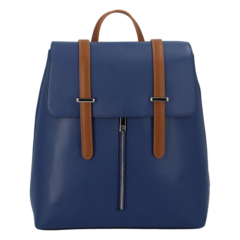 Dámský kožený batoh modro hnědý - ItalY Waterfall