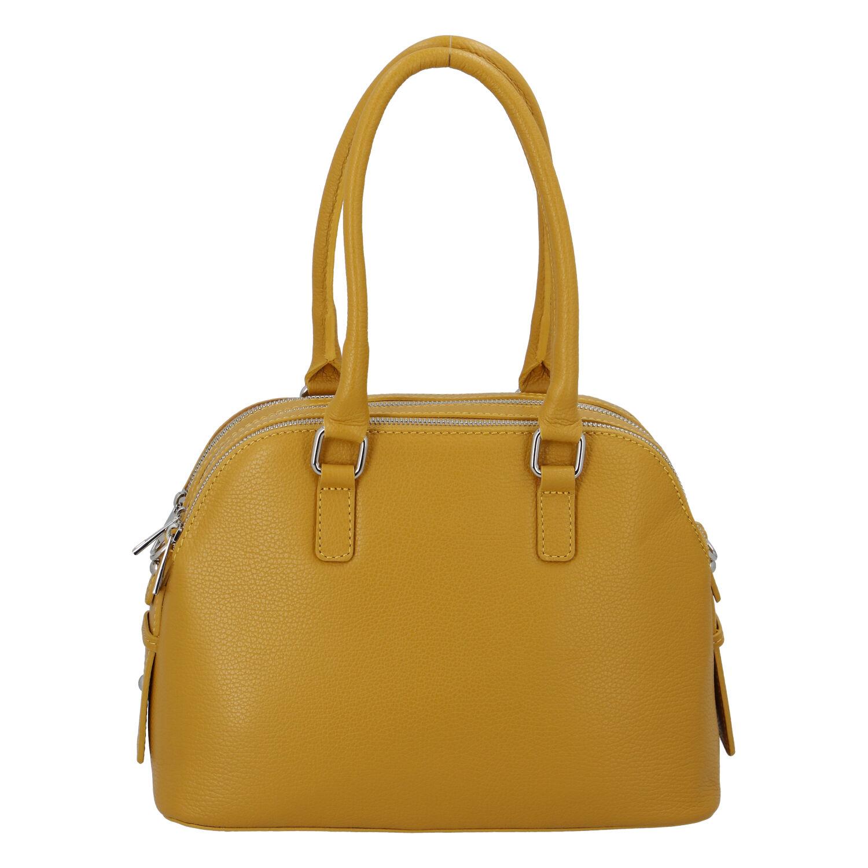 Módní dámská kožená kabelka žlutá - ItalY Salva