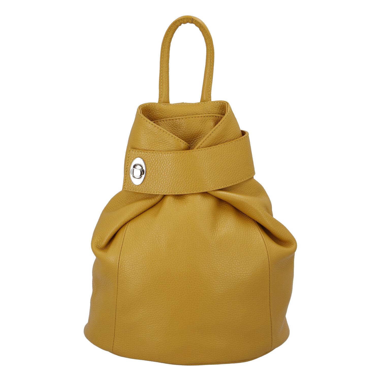 Dámský kožený batůžek žlutý - ItalY Vazky