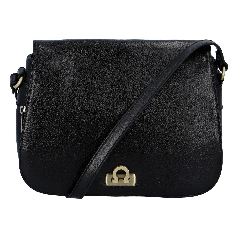Luxusní dámská kožená kabelka černá - Hexagona Francesca