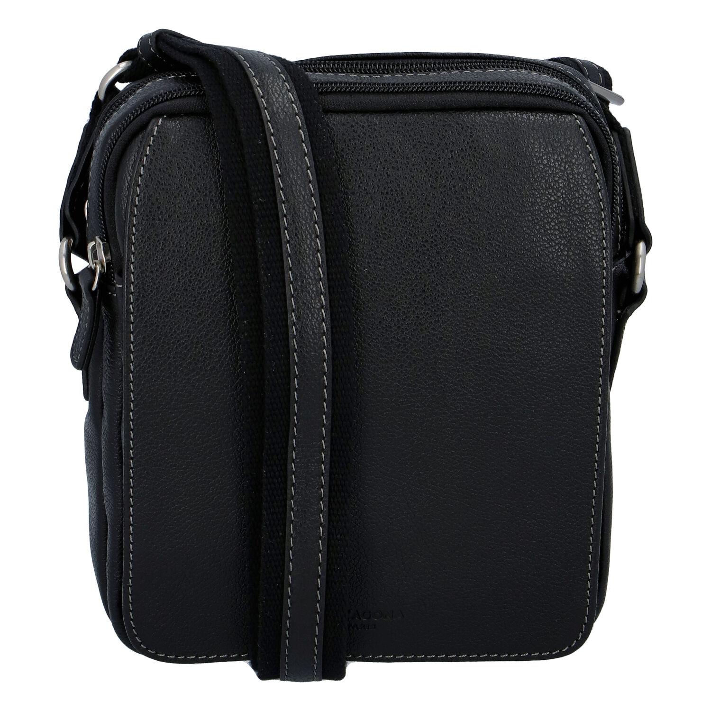 Luxusní pánská kožená taška přes rameno černá - Hexagona Yasser
