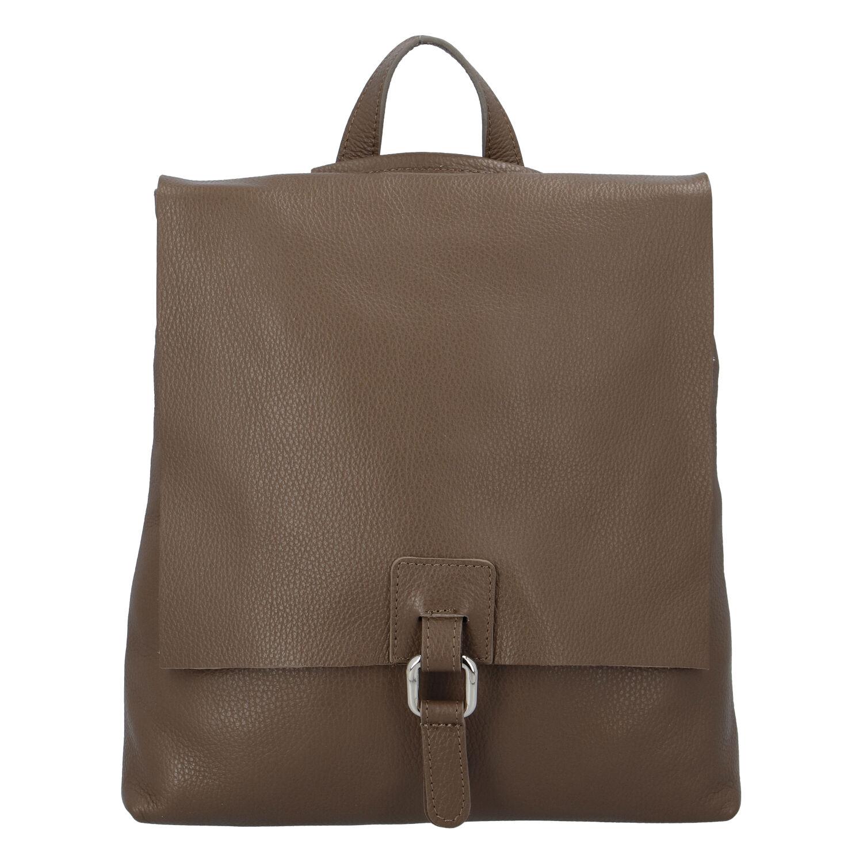 Dámský kožený batůžek kabelka khaki - ItalY Francesco