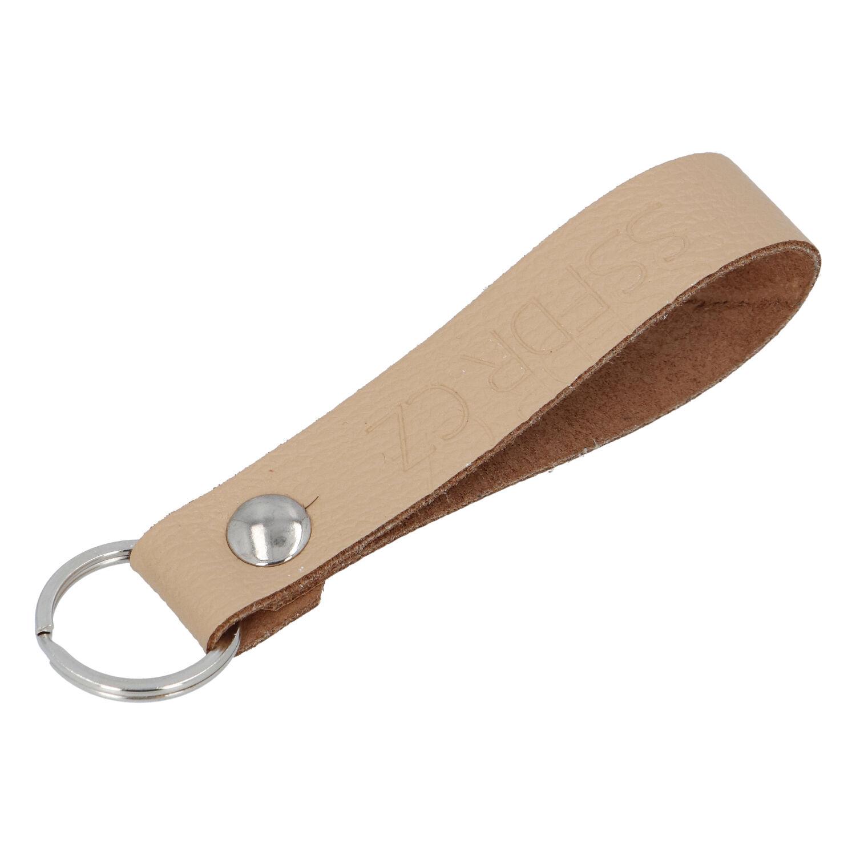 Kožená klíčenka poutko na klíče béžová - SSFDR Azuro
