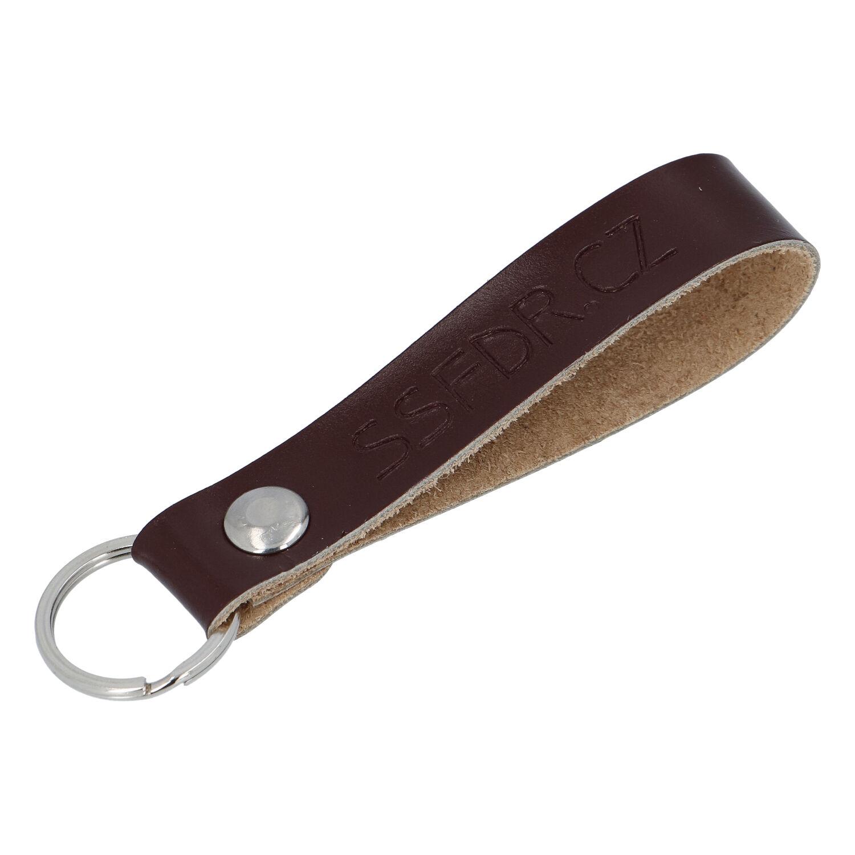 Kožená klíčenka poutko na klíče tmavě hnědá - SSFDR Azuro