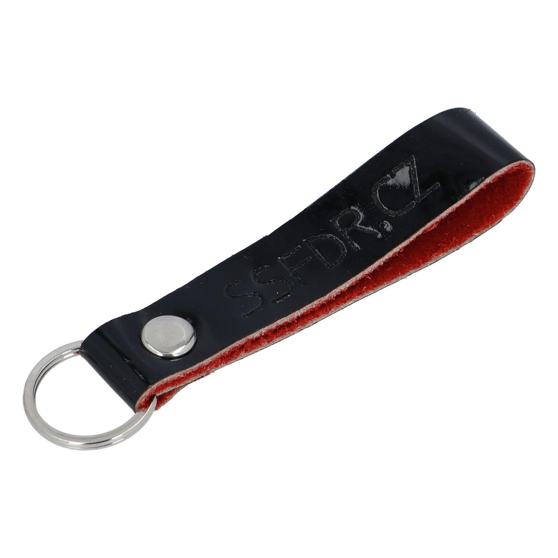 Kožená klíčenka poutko na klíče černá lesk - SSFDR Azuro