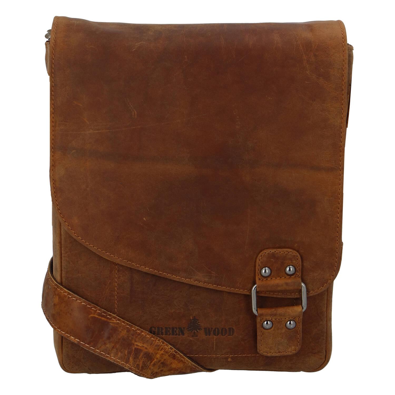 Pánská kožená taška světle hnědá - Greenwood Maroon