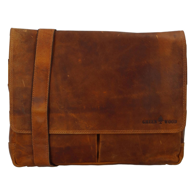 Pánská kožená taška světle hnědá - Greenwood Rewrite
