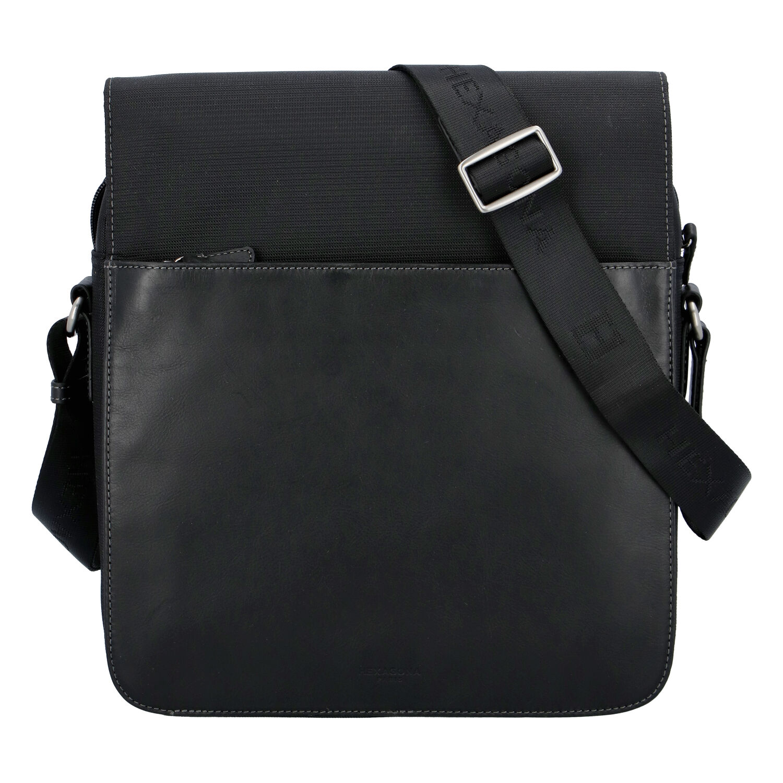Moderní polokožená kožená taška černá - Hexagona Cendrik
