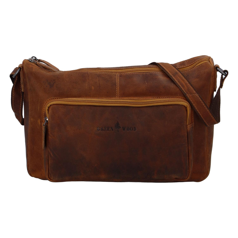 Kožená taška přes rameno světle hnědá - Greenwood Aboutme