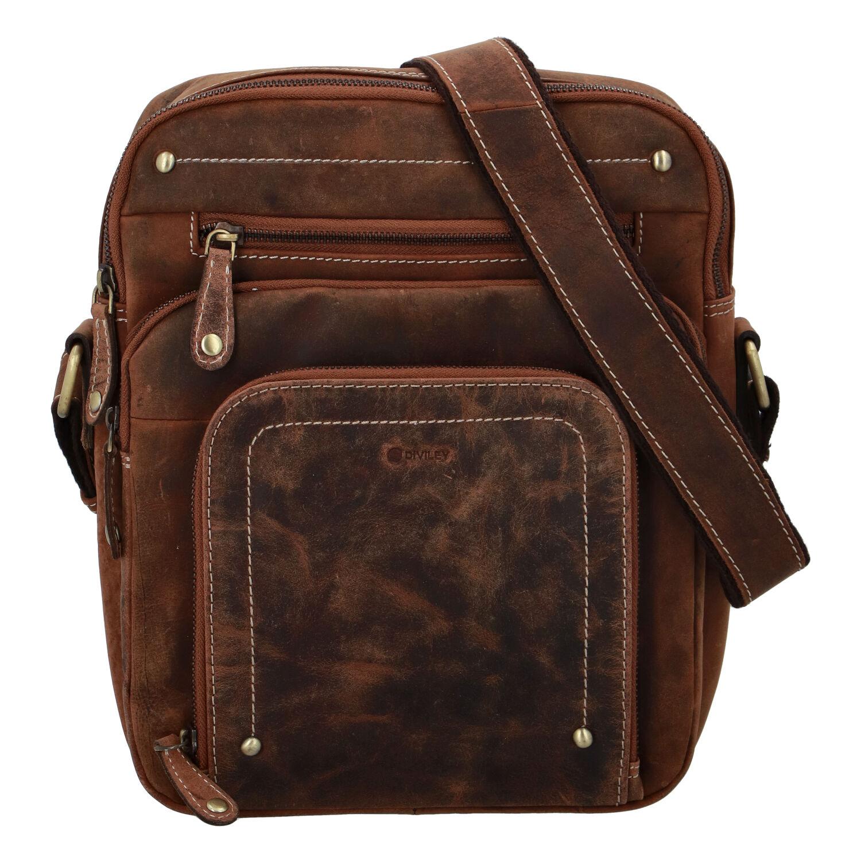 Pánská kožená taška broušená camel - Diviley Hook