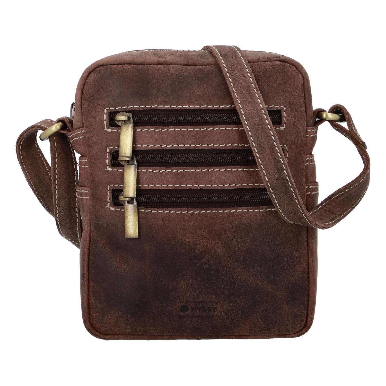 Pánská kožená taška broušená hnědá - Diviley Bronx