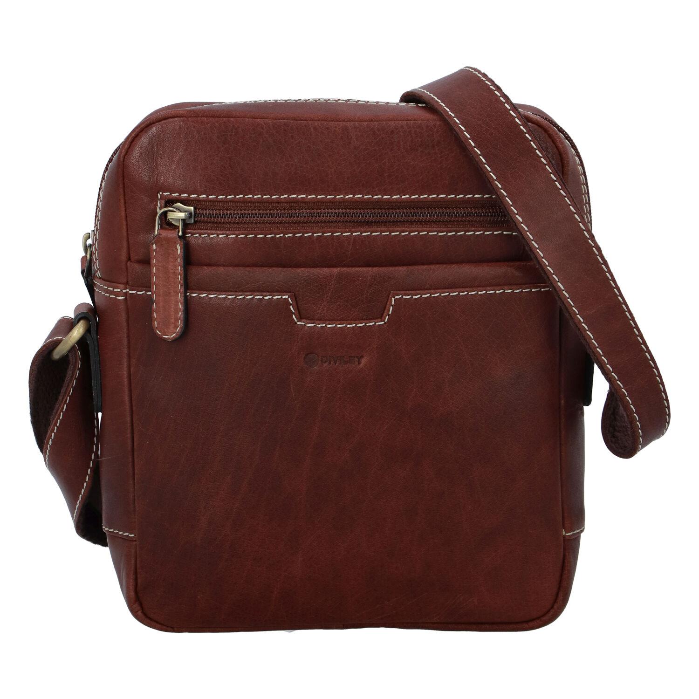 Pánská kožená taška hladká hnědá - Diviley Qeens