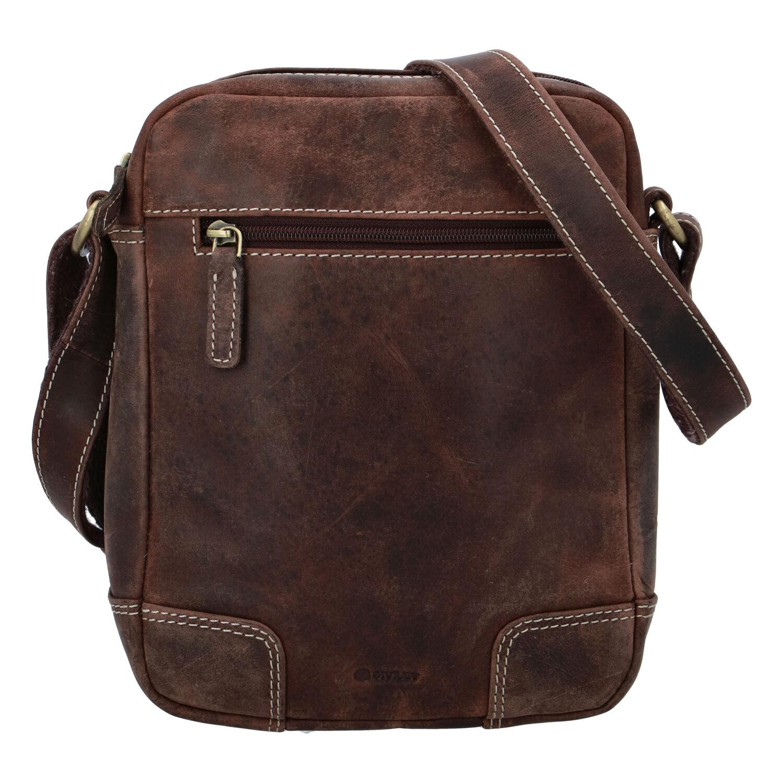 Pánská kožená taška broušená hnědá - Diviley Harlem