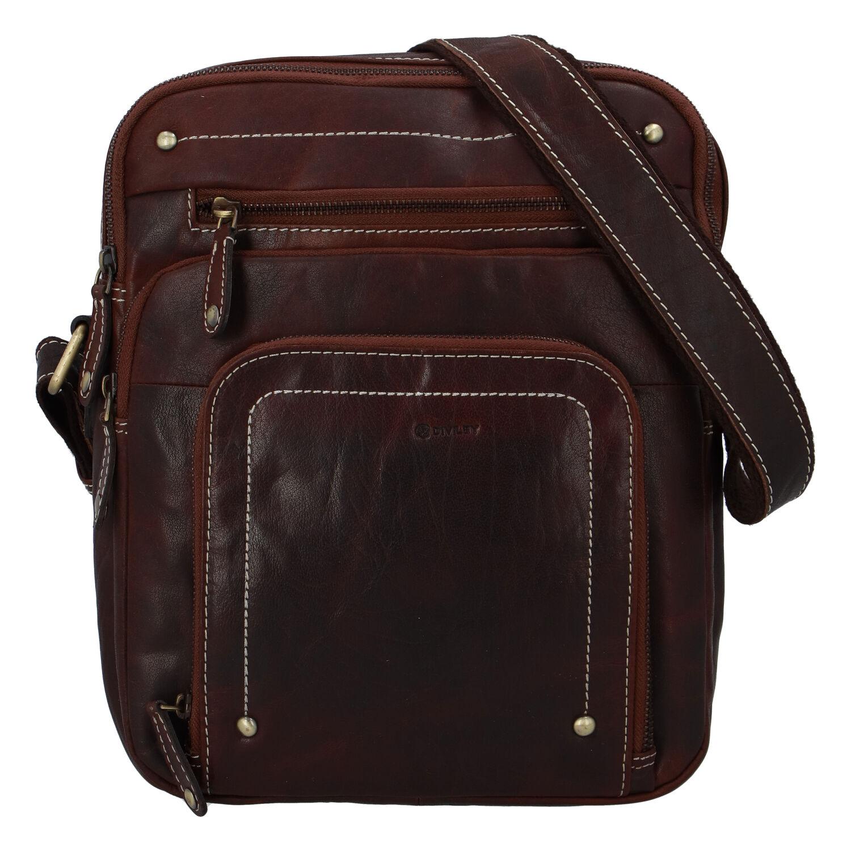 Pánská kožená taška hladká hnědá - Diviley Hook